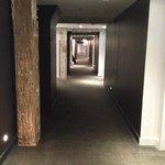Wonderful hotel corridor with exposed beams & columns
