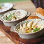 Trio of Mediterranean dips with Iraqi samoon bread