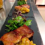 Pave of gammon with pineapple and chilli chutney