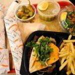 soup, kabab, checkin shawirma, tabbouleh