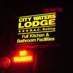 City Waters Signage at Night