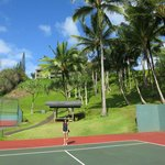 Tennis courts with a view of the elevation changes