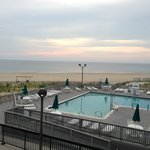 View of beach and pool from Chesapeake 2nd floor room.