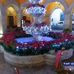 Lobby fountain decorated for christmas