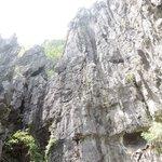 Imposing limestone cliffs.