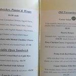 Cabra Castle Snack Menu Served at the Derby Bar
