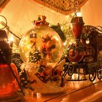 Decorations on the fireplace mantle