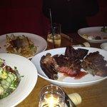 Steak dish & salads