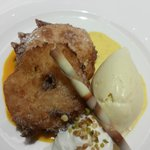 dessert - battered pineapple with ice-cream