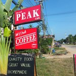 peak cafe sign on the road
