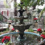 Fountain in garden area