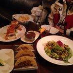 Apres ski :) tacos, sliders, shrimp and avocado salad and sangria.