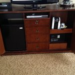 TV stand with contents