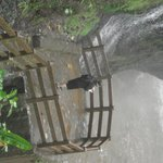 Platform at the base of the falls can be wet.