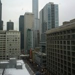 View from room looking onto State w/Chicago Theatre & Trump in the middle above all