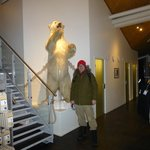 Stuffed polar bear in the hotel lobby