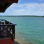 View of the bungalow next to ours and the waters