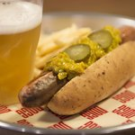 Hot dog with relish. Draught Beer