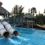 A glimpse of the pool area with a few of the slides.