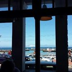 view of Kalk Bay Harbour from our table