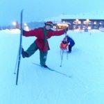 Splodge the Elf, teaching us to cross country ski