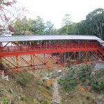 "Picturesque red ""turtle's back"" bridge"