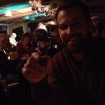My husband enjoying the hot wine welcome drink on Jazzboat!