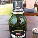 N lekker yskoue bier!  This was the highlight of my day having been served on the beach with gre