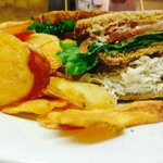 Turkey Club with house made brew chips