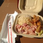 Poke lunch combo with grilled calamari
