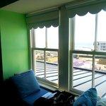 "4th floor has window seat with ""ocean view"""