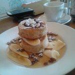 Banana Pancakes with syrup and raisins