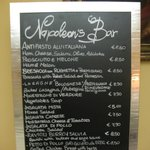 bar and restaurant menu