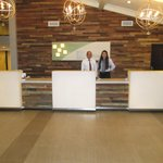 The new reception area with two of the excellent Front Desk Team.