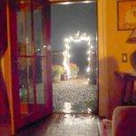 Through open front door and gate rain storm Bantam Roost