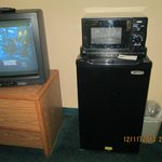 TV, refrigerator and micro wave oven.