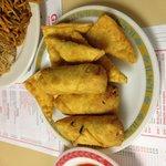 Crab rangoons and egg rolls