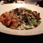 Quinoa salad with cajun style prawns