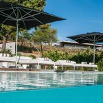 Hotel pool and loungers
