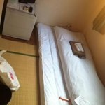 This is a single room for Hotel Taiyo. Just TV, old small refrigerator, yukata, towel.