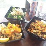 Monger box, grilled calamari with chips and steamed vegetables.