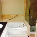 Large Bathroom with Jacuzzi Brand Jetted Bath tub. Only Suites have this tub set-up.
