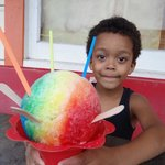 My son with his shave ice