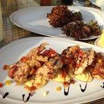 Luna Lanai beach bar: crusty softsell crabs