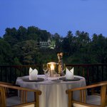 Table for two at The Restaurant overlooking our Temple and the #worldsbestpool