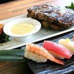 Steak og sushi