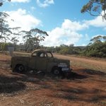 old farm ute at entrance to park
