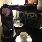 The room tea/coffee bar is complimentary