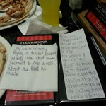 the note left after the meal - left in open view for the public to read about our horrendous vis