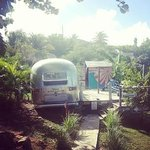Airstream and outdoor shower